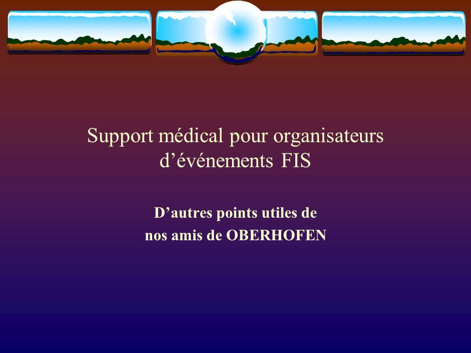Support médical pour organisateurs dévénements FIS Dautres points utiles de nos amis de OBERHOFEN