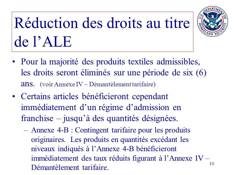 10 Pour la majorité des produits textiles admissibles, les droits seront éliminés sur une période de six (6) ans. (voir Annexe IV – Démantèlement tari