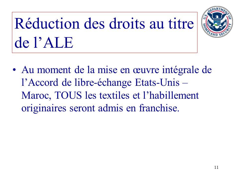 11 Au moment de la mise en œuvre intégrale de lAccord de libre-échange Etats-Unis – Maroc, TOUS les textiles et lhabillement originaires seront admis