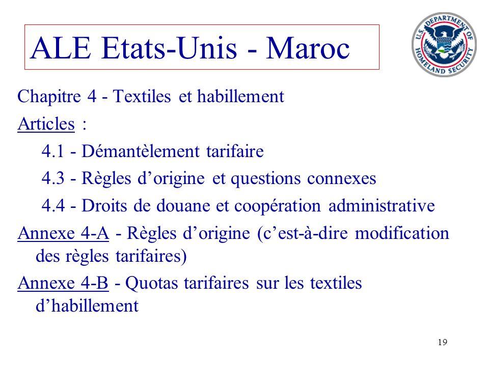 19 ALE Etats-Unis - Maroc Chapitre 4 - Textiles et habillement Articles : 4.1 - Démantèlement tarifaire 4.3 - Règles dorigine et questions connexes 4.