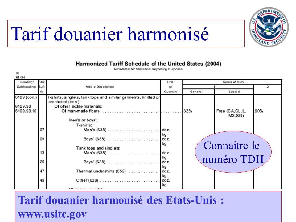 23 Tarif douanier harmonisé Tarif douanier harmonisé des Etats-Unis : www.usitc.gov Connaître le numéro TDH
