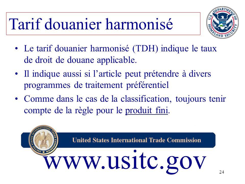 24 Le tarif douanier harmonisé (TDH) indique le taux de droit de douane applicable. Il indique aussi si larticle peut prétendre à divers programmes de