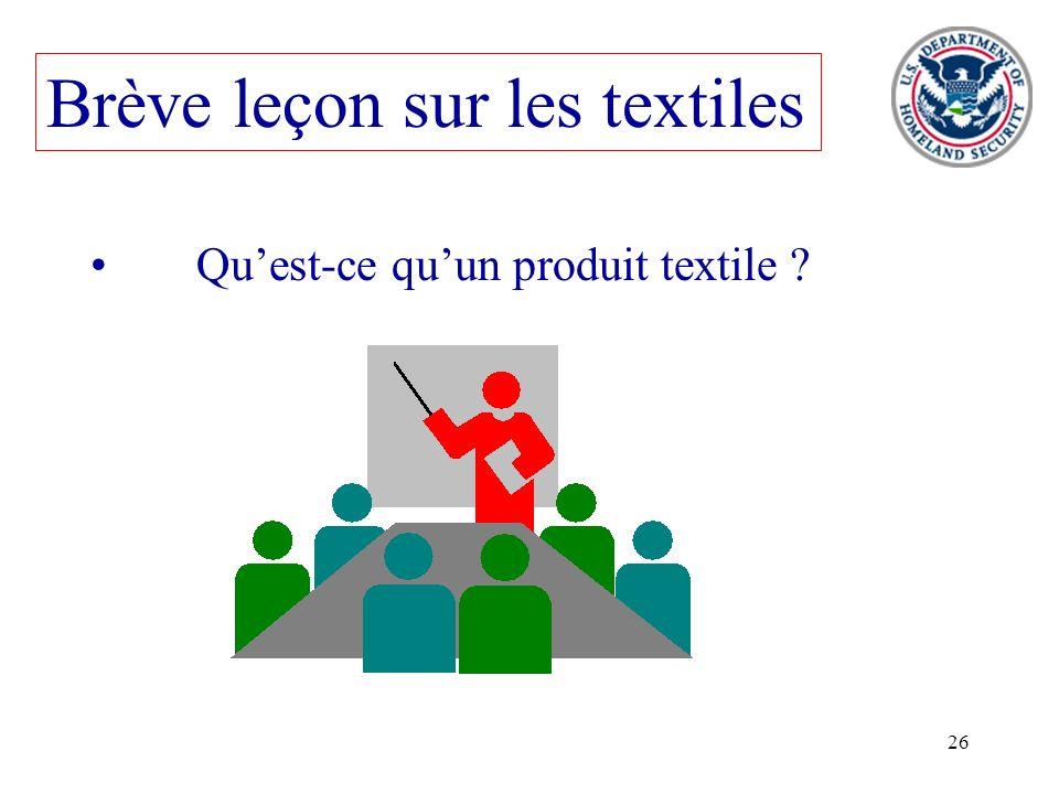 26 Brève leçon sur les textiles Quest-ce quun produit textile ?