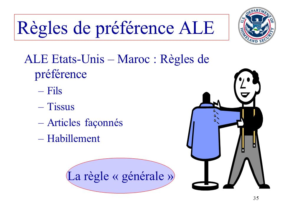35 Règles de préférence ALE ALE Etats-Unis – Maroc : Règles de préférence –Fils –Tissus –Articles façonnés –Habillement La règle « générale »