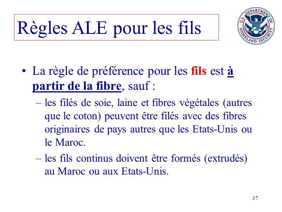 37 Règles ALE pour les fils La règle de préférence pour les fils est à partir de la fibre, sauf : –les filés de soie, laine et fibres végétales (autre