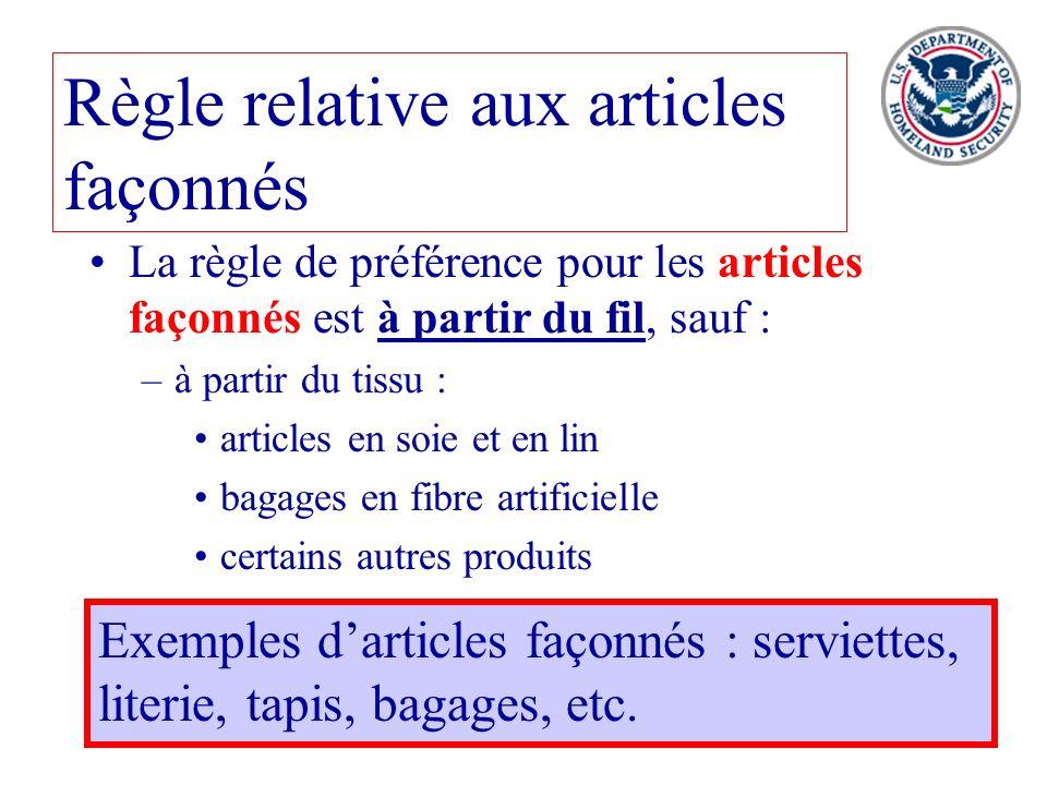 39 Règle relative aux articles façonnés La règle de préférence pour les articles façonnés est à partir du fil, sauf : –à partir du tissu : articles en