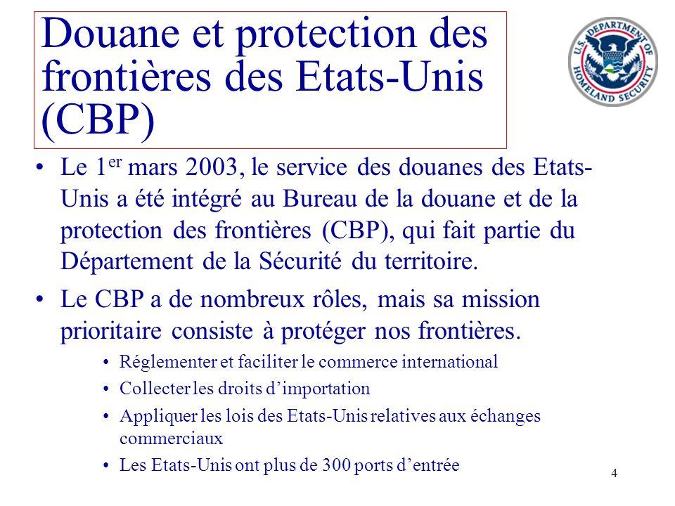 4 Douane et protection des frontières des Etats-Unis (CBP) Le 1 er mars 2003, le service des douanes des Etats- Unis a été intégré au Bureau de la dou