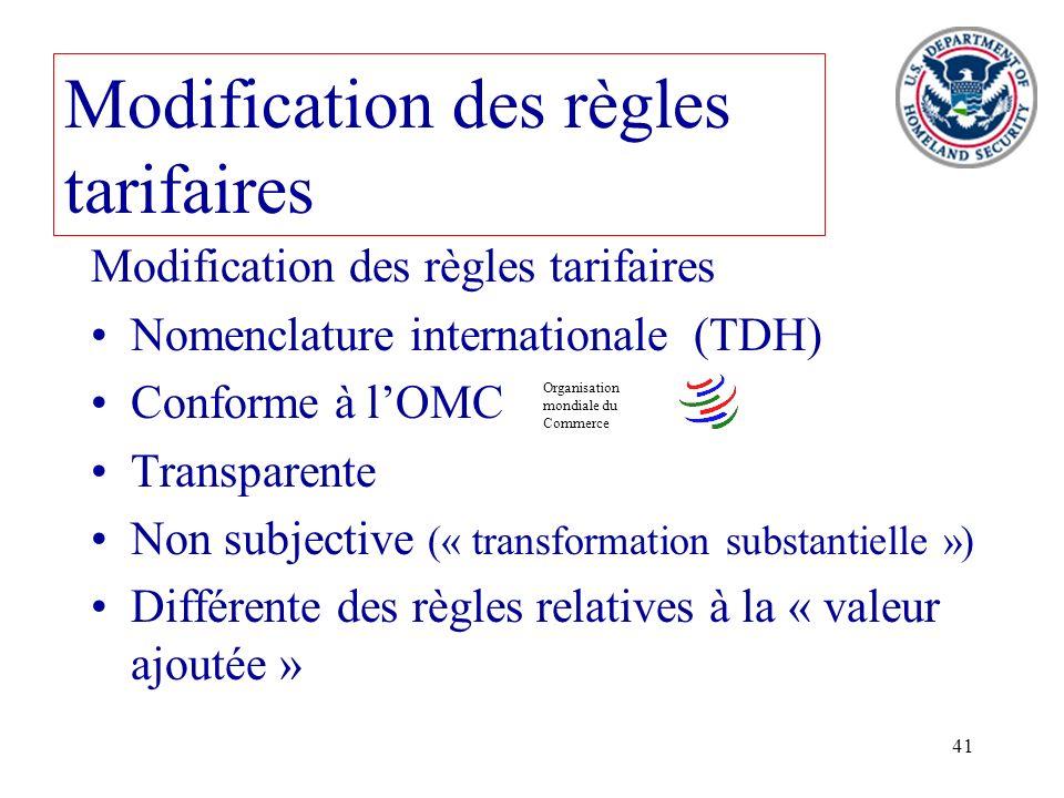 41 Modification des règles tarifaires Nomenclature internationale (TDH) Conforme à lOMC Transparente Non subjective (« transformation substantielle »)