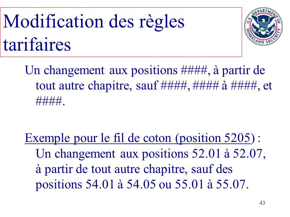 43 Modification des règles tarifaires Un changement aux positions ####, à partir de tout autre chapitre, sauf ####, #### à ####, et ####. Exemple pour