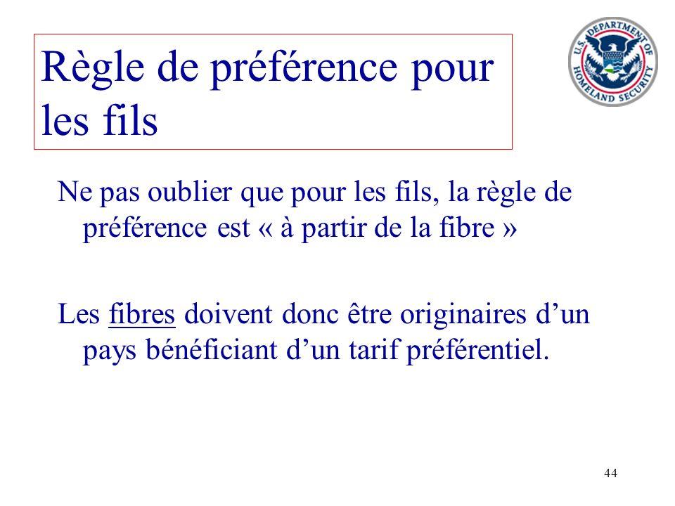 44 Règle de préférence pour les fils Ne pas oublier que pour les fils, la règle de préférence est « à partir de la fibre » Les fibres doivent donc êtr