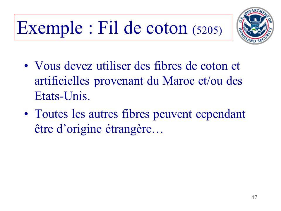 47 Exemple : Fil de coton ( 5205) Vous devez utiliser des fibres de coton et artificielles provenant du Maroc et/ou des Etats-Unis. Toutes les autres