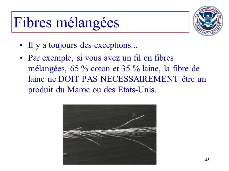 48 Fibres mélangées Il y a toujours des exceptions... Par exemple, si vous avez un fil en fibres mélangées, 65 % coton et 35 % laine, la fibre de lain