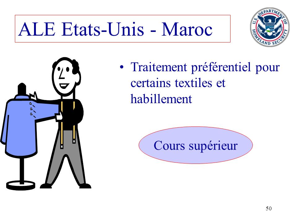 50 ALE Etats-Unis - Maroc Traitement préférentiel pour certains textiles et habillement Cours supérieur