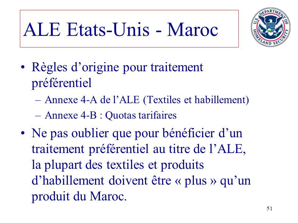 51 ALE Etats-Unis - Maroc Règles dorigine pour traitement préférentiel –Annexe 4-A de lALE (Textiles et habillement) –Annexe 4-B : Quotas tarifaires N