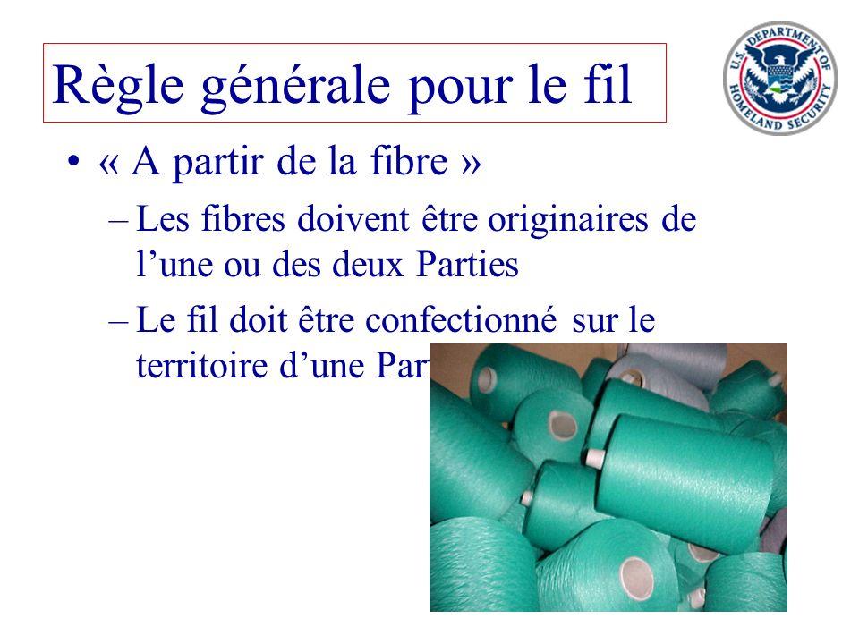 52 « A partir de la fibre » –Les fibres doivent être originaires de lune ou des deux Parties –Le fil doit être confectionné sur le territoire dune Par