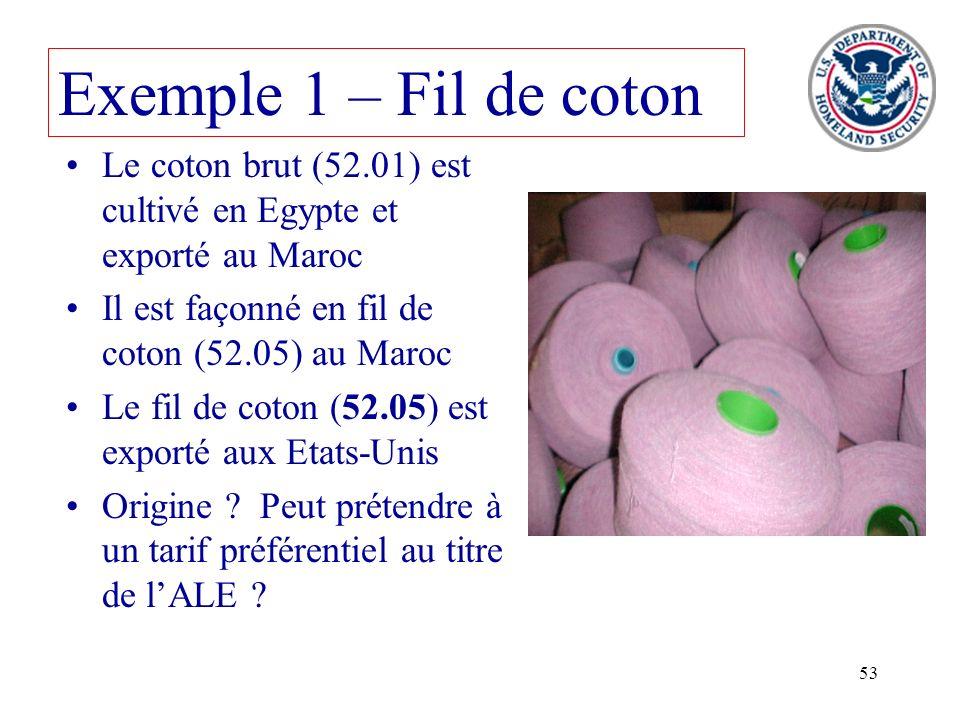 53 Le coton brut (52.01) est cultivé en Egypte et exporté au Maroc Il est façonné en fil de coton (52.05) au Maroc Le fil de coton (52.05) est exporté