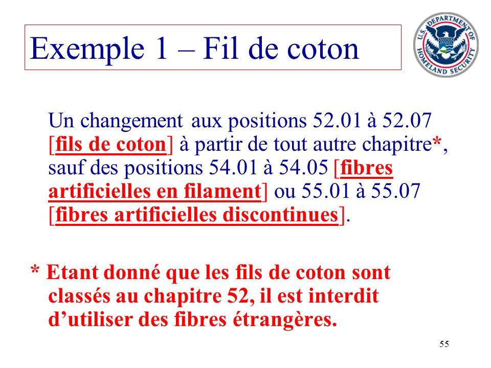 55 Un changement aux positions 52.01 à 52.07 [fils de coton] à partir de tout autre chapitre*, sauf des positions 54.01 à 54.05 [fibres artificielles