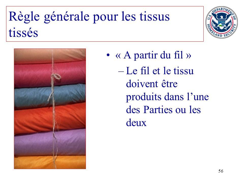 56 « A partir du fil » –Le fil et le tissu doivent être produits dans lune des Parties ou les deux Règle générale pour les tissus tissés