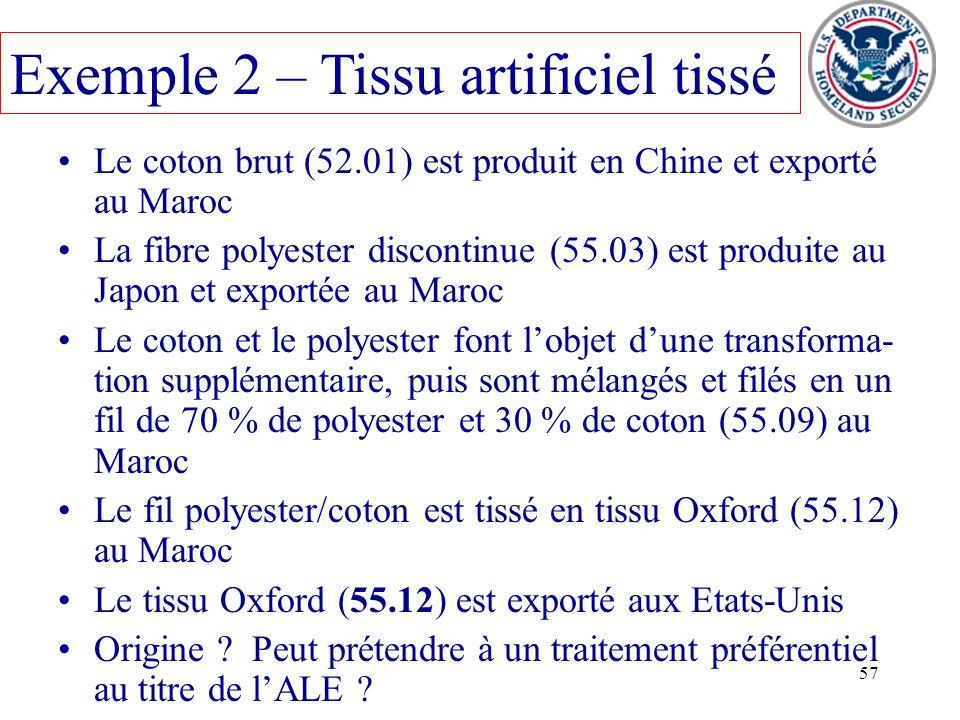 57 Le coton brut (52.01) est produit en Chine et exporté au Maroc La fibre polyester discontinue (55.03) est produite au Japon et exportée au Maroc Le