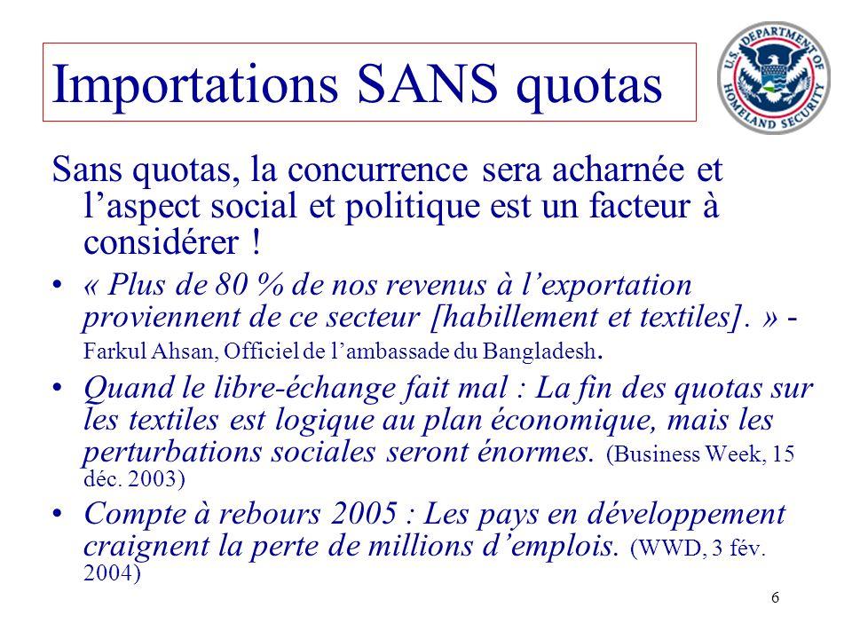 6 Sans quotas, la concurrence sera acharnée et laspect social et politique est un facteur à considérer ! « Plus de 80 % de nos revenus à lexportation