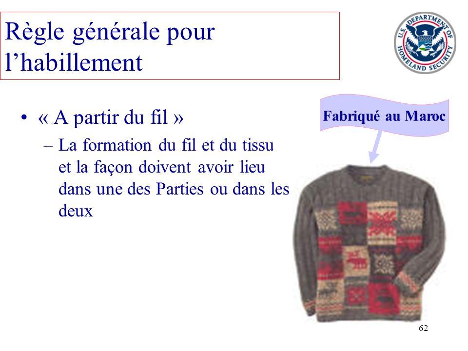 62 « A partir du fil » –La formation du fil et du tissu et la façon doivent avoir lieu dans une des Parties ou dans les deux Fabriqué au Maroc Règle g