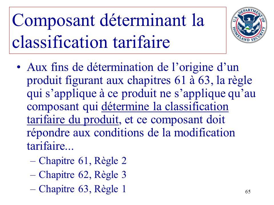 65 Aux fins de détermination de lorigine dun produit figurant aux chapitres 61 à 63, la règle qui sapplique à ce produit ne sapplique quau composant q