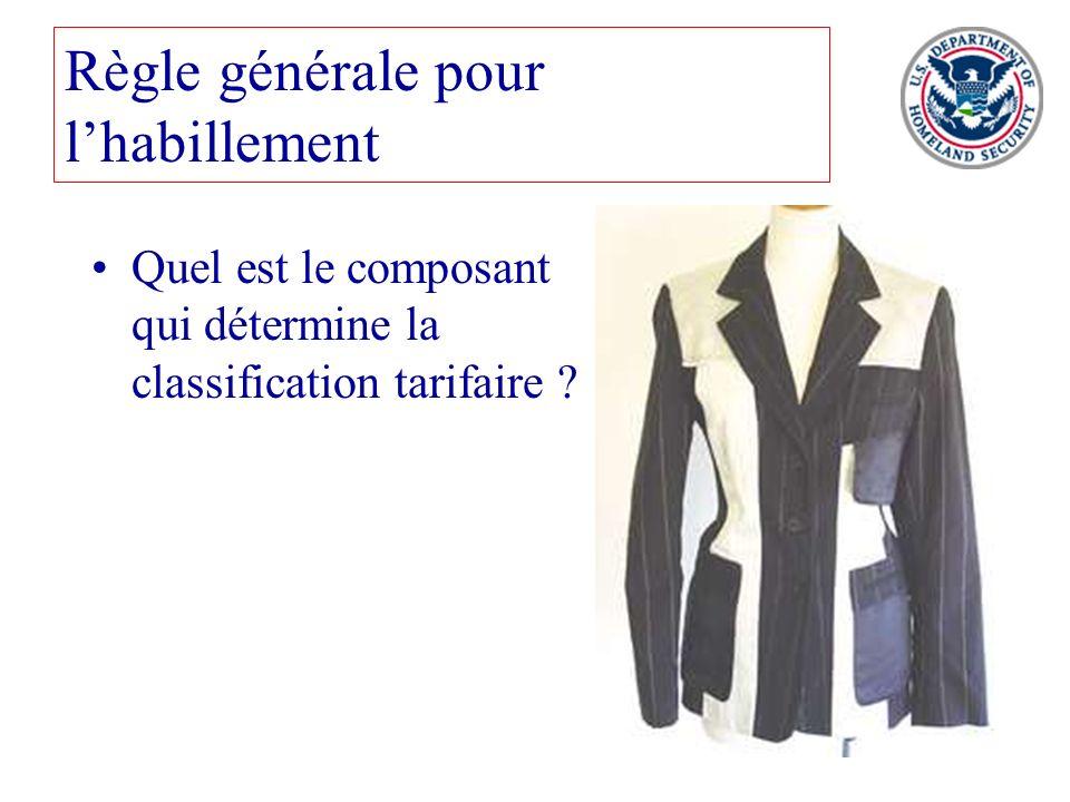 69 Règle générale pour lhabillement Quel est le composant qui détermine la classification tarifaire ?