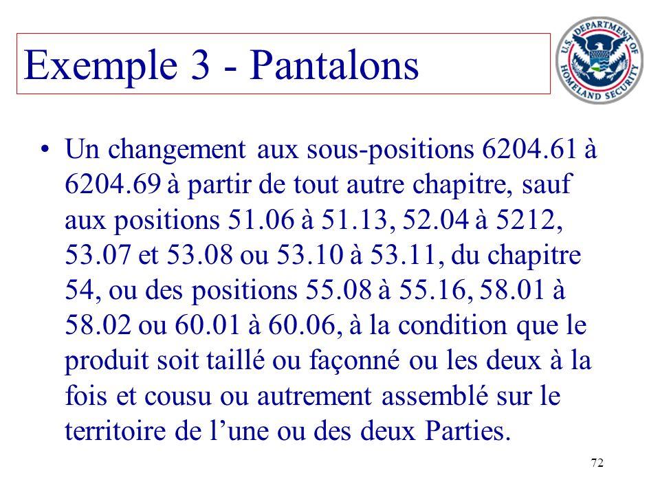 72 Un changement aux sous-positions 6204.61 à 6204.69 à partir de tout autre chapitre, sauf aux positions 51.06 à 51.13, 52.04 à 5212, 53.07 et 53.08