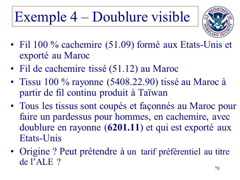 76 Fil 100 % cachemire (51.09) formé aux Etats-Unis et exporté au Maroc Fil de cachemire tissé (51.12) au Maroc Tissu 100 % rayonne (5408.22.90) tissé