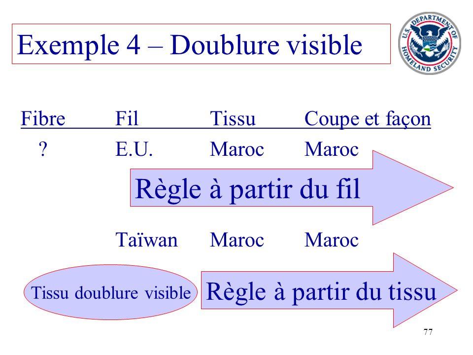 77 Exemple 4 – Doublure visible FibreFilTissuCoupe et façon ?E.U.MarocMaroc TaïwanMarocMaroc Règle à partir du tissu Règle à partir du fil Tissu doubl