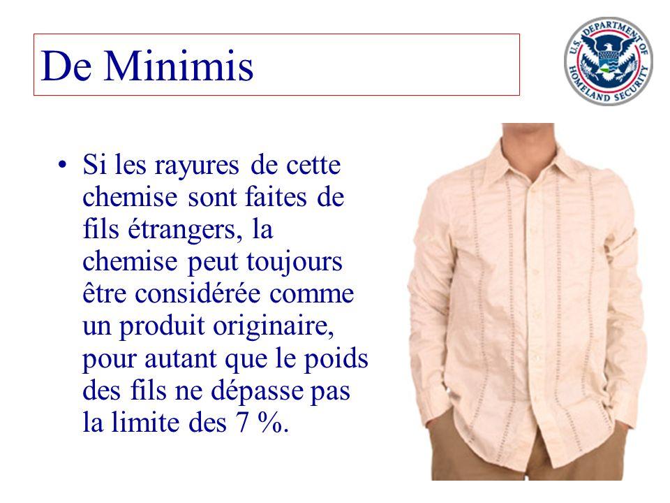 80 De Minimis Si les rayures de cette chemise sont faites de fils étrangers, la chemise peut toujours être considérée comme un produit originaire, pou