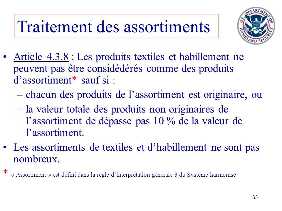 83 Traitement des assortiments Article 4.3.8 : Les produits textiles et habillement ne peuvent pas être considédérés comme des produits dassortiment*