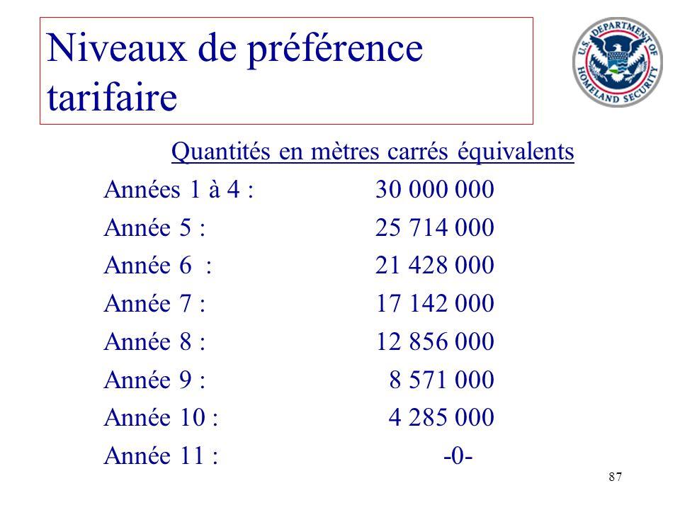 87 Niveaux de préférence tarifaire Quantités en mètres carrés équivalents Années 1 à 4 :30 000 000 Année 5 :25 714 000 Année 6 :21 428 000 Année 7 :17