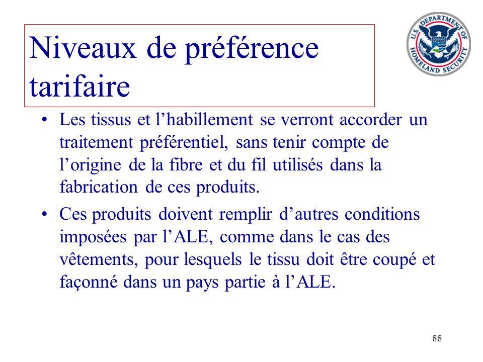 88 Niveaux de préférence tarifaire Les tissus et lhabillement se verront accorder un traitement préférentiel, sans tenir compte de lorigine de la fibr