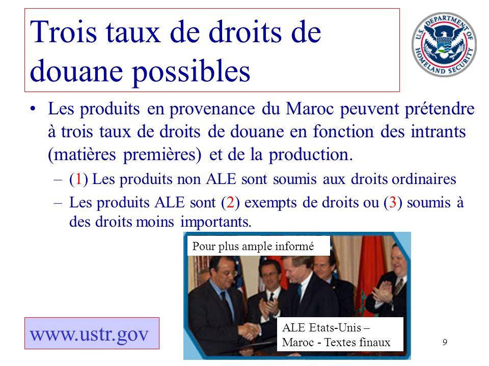 9 Les produits en provenance du Maroc peuvent prétendre à trois taux de droits de douane en fonction des intrants (matières premières) et de la produc