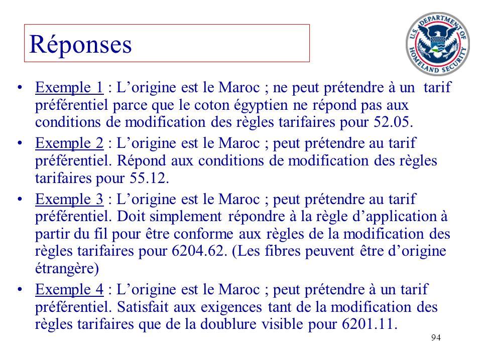 94 Exemple 1 : Lorigine est le Maroc ; ne peut prétendre à un tarif préférentiel parce que le coton égyptien ne répond pas aux conditions de modificat