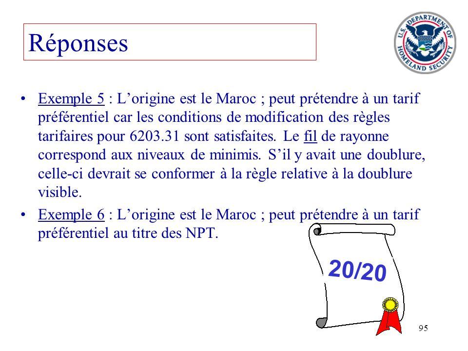 95 Exemple 5 : Lorigine est le Maroc ; peut prétendre à un tarif préférentiel car les conditions de modification des règles tarifaires pour 6203.31 so