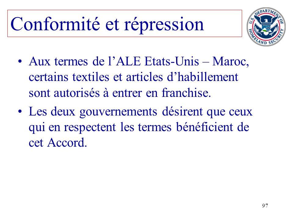 97 Aux termes de lALE Etats-Unis – Maroc, certains textiles et articles dhabillement sont autorisés à entrer en franchise. Les deux gouvernements dési