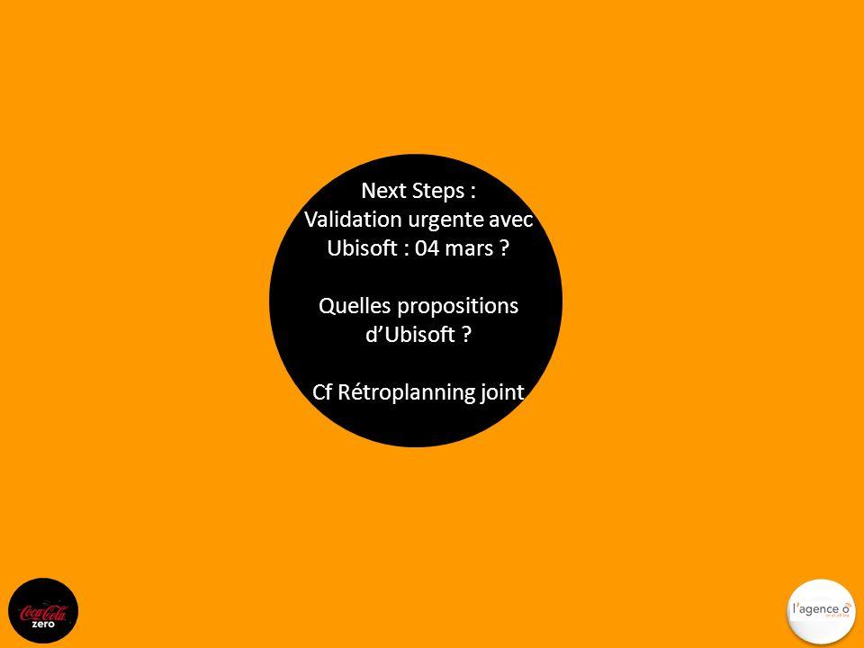 Next Steps : Validation urgente avec Ubisoft : 04 mars ? Quelles propositions dUbisoft ? Cf Rétroplanning joint