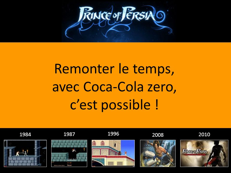 Remonter le temps, avec Coca-Cola zero, cest possible ! 2010 2008 1996 1987 1984