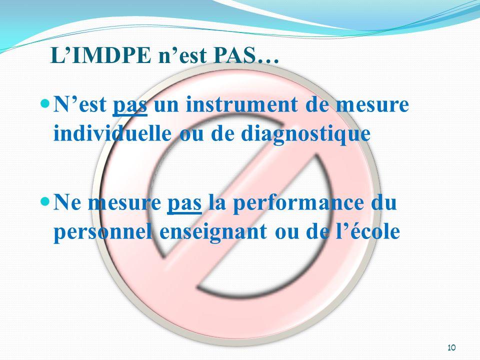 Nest pas un instrument de mesure individuelle ou de diagnostique Ne mesure pas la performance du personnel enseignant ou de lécole LIMDPE nest PAS… 10