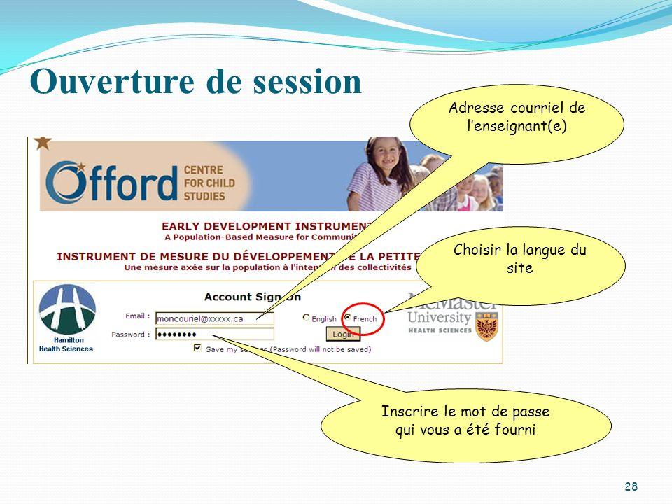 Ouverture de session Adresse courriel de lenseignant(e) Choisir la langue du site Inscrire le mot de passe qui vous a été fourni 28