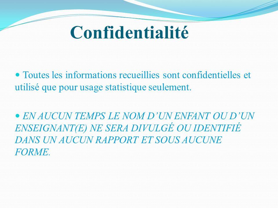Confidentialité Toutes les informations recueillies sont confidentielles et utilisé que pour usage statistique seulement. EN AUCUN TEMPS LE NOM DUN EN