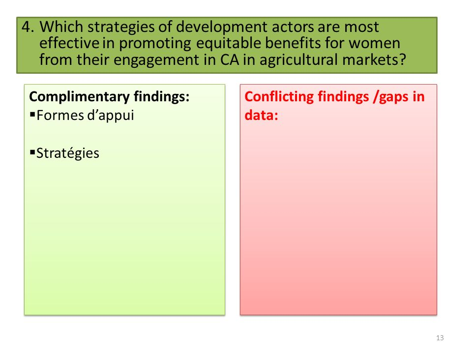 13 4.Which strategies of development actors are most effective in promoting equitable benefits for women from their engagement in CA in agricultural markets.
