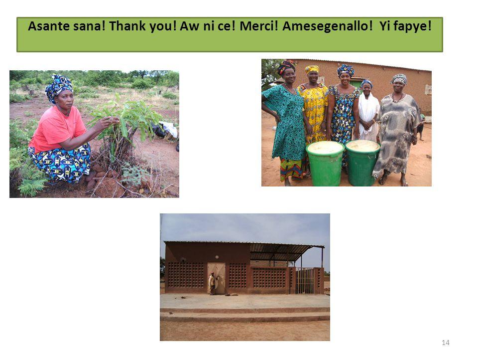14 Asante sana! Thank you! Aw ni ce! Merci! Amesegenallo! Yi fapye!