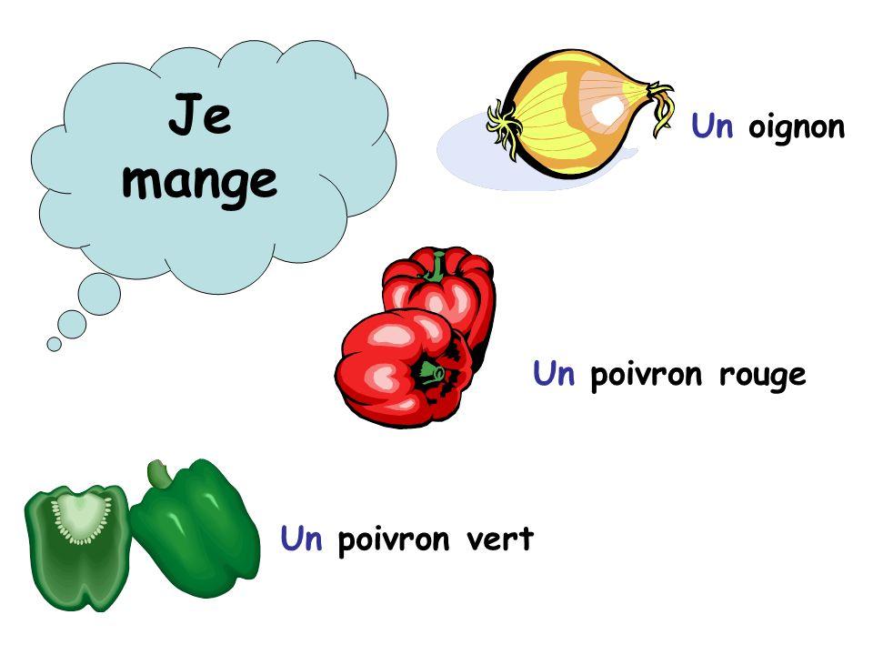 Un oignon Un poivron rouge Un poivron vert