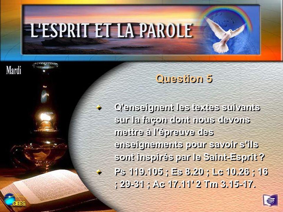 Question 5 Q'enseignent les textes suivants sur la façon dont nous devons mettre à l'épreuve des enseignements pour savoir s'ils sont inspirés par le
