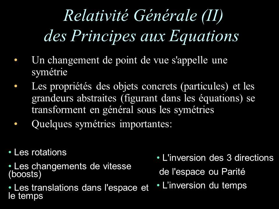 Un changement de point de vue s appelle une symétrie Les propriétés des objets concrets (particules) et les grandeurs abstraites (figurant dans les équations) se transforment en général sous les symétries Quelques symétries importantes: Relativité Générale (II) des Principes aux Equations Les rotations Les changements de vitesse (boosts) Les translations dans l espace et le temps L inversion des 3 directions de l espace ou Parité Linversion du temps