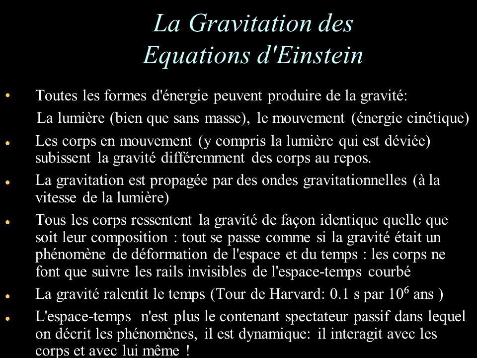 La Gravitation des Equations d Einstein Toutes les formes d énergie peuvent produire de la gravité: La lumière (bien que sans masse), le mouvement (énergie cinétique) Les corps en mouvement (y compris la lumière qui est déviée) subissent la gravité différemment des corps au repos.