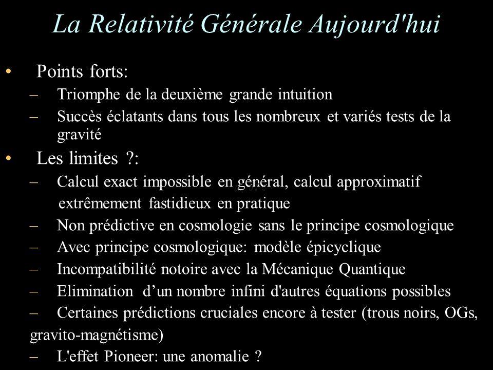 La Relativité Générale Aujourd'hui Points forts: –Triomphe de la deuxième grande intuition –Succès éclatants dans tous les nombreux et variés tests de